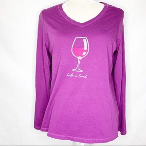 Ladies Life is Good Wine Glass Half Full T-Shirt